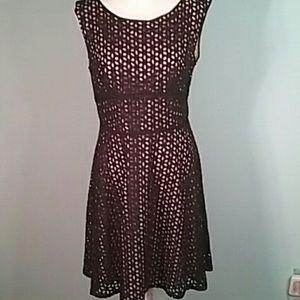 Loft nwt 12 black layered eyelet dress fit & fla